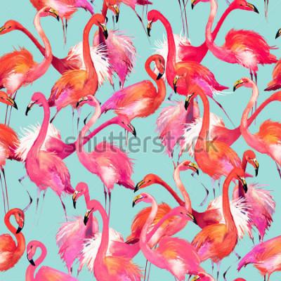 Naklejka flamingo birds seamless background. Watercolor tropical nature pattern.