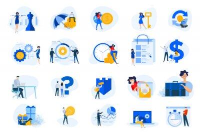 Flat design concept icons collection. Vector illustrations for business, finance, banking, insurance, strategy and analysis, investment, e-commerce, seo, time management, protection.