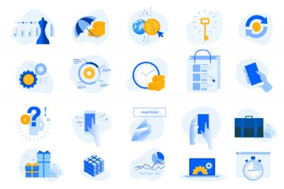 Flat design concept icons collection. Vector illustrations for business, finance, banking, insurance, strategy and analysis, investment, e-commerce, seo, time management, smartphone using.