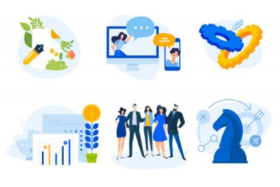 Flat design concept icons collection. Vector illustrations for business planning and strategy, project development, finance and investment, online communication, team, copywriting.