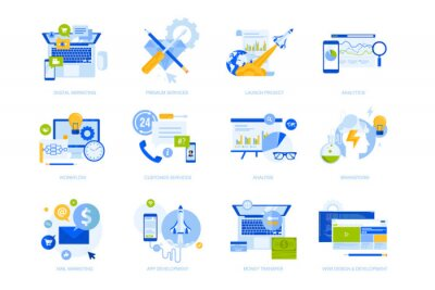 Flat design concept icons collection. Vector illustrations for business, startup, marketing, web and app design and development, e-banking and customer support. Icons for graphic and web designs.