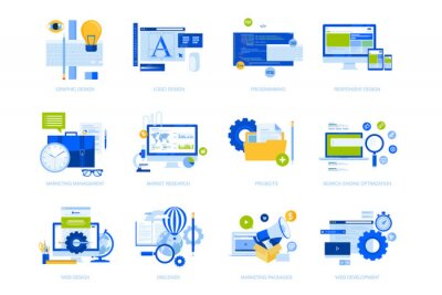Flat design concept icons collection. Vector illustrations for graphic and web design and development, app development, seo, digital marketing and market research.
