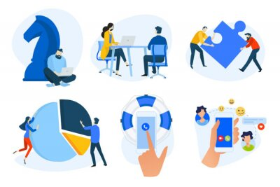 Flat design concept icons collection. Vector illustrations of business strategy, analysis and solutions, teamwork, human resources, social network, online support. Icons for graphic and web designs, m