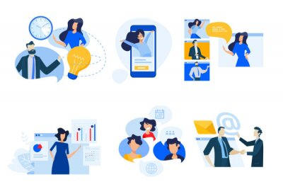 Flat design concept icons collection. Vector illustrations of conference call, social media, video streaming, business apps, time and project management. Icons for graphic and web designs.