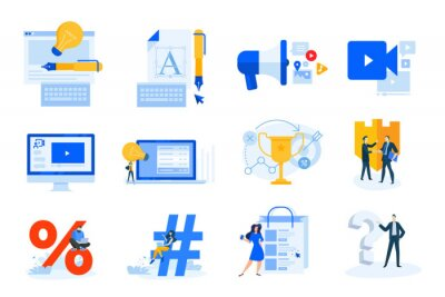 Flat design concept icons collection. Vector illustrations of logo and website design, internet marketing, video streaming and tutorial, shopping, communication, success, innovation, business security