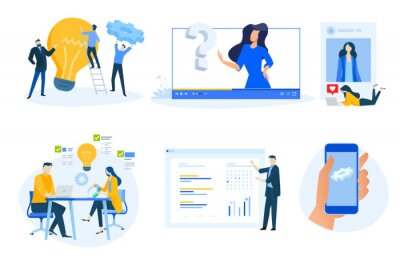 Flat design concept icons collection. Vector illustrations of project management, business presentation, social media, video tutorial, distance education, star rating, mobile app maintenance.