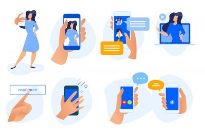 Flat design concept icons collection. Vector illustrations of social media, networking, smartphone services and using, selfie, video call and communication. Icons for graphic and web designs.