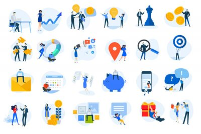 Flat design icons collection. Vector illustrations for business, finance, digital marketing, social network, shopping and online communication. Icons for graphic and web designs, marketing material.