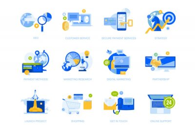 Flat design icons collection. Vector illustrations for business strategy, communication and support, startup, online payment, shopping, seo, internet marketing. Icons for graphic and web design.