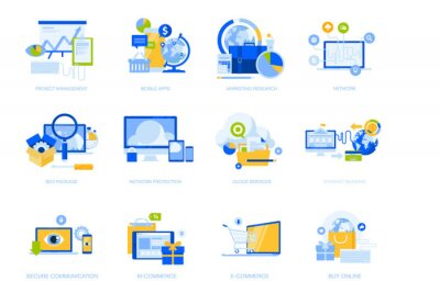 Flat design icons collection. Vector illustrations for project management, mobile apps and services, social network, cloud services, e-commerce, internet security, e-banking, SEO, digital marketing.
