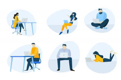 Flat design icons collection. Vector illustrations of people using a laptop for work, communication and entertainment. Icons for graphic and web designs, marketing material and business presentation.