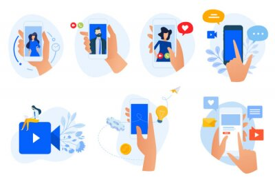 Flat design icons collection. Vector illustrations of social media and networking, digital communication, mobile apps. Icons for graphic and web designs, marketing material and business presentation.