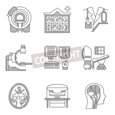 Flat line icons collection for MRI research. CT scan, MRI equipment, brain scan and other elements for your website