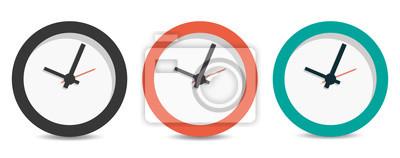 Naklejka Flat long shadow clock icon isolated on white background