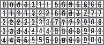 Naklejka Flip clock numbers. Retro countdown animation, mechanical scoreboard number and numeric counter flips. Alarm timer, score day date counter or time display numbers vector symbols set