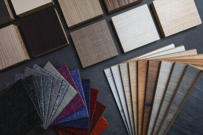 flooring and furniture material samples for interior design project