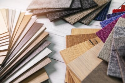 flooring and furniture materials - floor carpet and wooden laminate samples