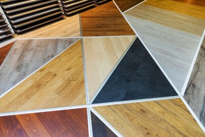 flooring shop - laminate samples on the floor