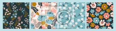 Naklejka Floral abstract seamless patterns. Vector design for different surfases.
