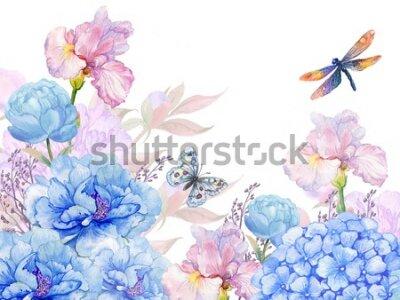 Naklejka floral background .illustration of watercolor. flowers peonies, irises, hydrangeas,butterflies and dragonflies . postcard floral pattern