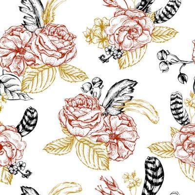 Naklejka Floral bezszwowe tło z róż i piór