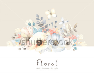 Naklejka Floral card with flowers, leaves, branches and butterfies in vintage watercolor style. Holiday template for your text, vector illustration on beige and white background.