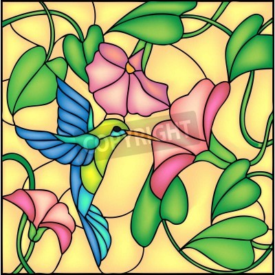 Naklejka Floral composition with tropical flowers and flying humming bird   colibri, vector illustration