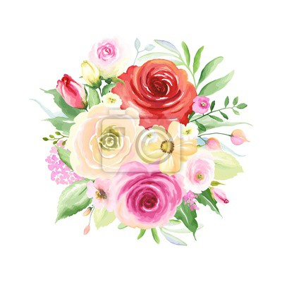 Floral decor with colorful roses, buds and green leaves, round bouquet for your design. Vector illustration in vintage watercolor style.