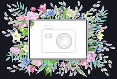 Floral frame on dark background