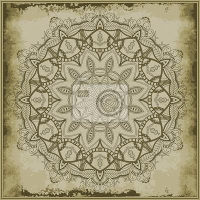 Floral mandala na tle archiwalne. Ozdobne silhouet krąg