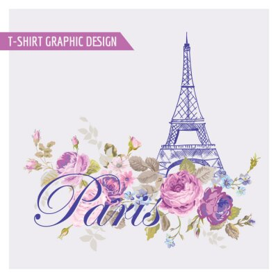Naklejka Floral Paris Graphic Design - dla koszulki, moda, grafika
