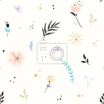Floral pattern with abstract flowers, branches, butterflies and decors of golden texture. Vector seamless background in primitive minimalism style. Swatch in pastel and black colors.