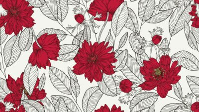 Naklejka Floral seamless pattern, eucalyptus leaves and anemone flowers line art ink drawing in red and dark grey