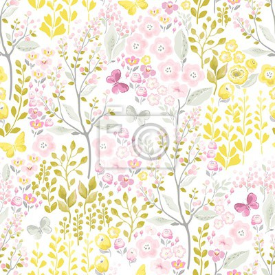 Floral seamless pattern with flowers and flying butterflies. Flowers meadow. Vector spring illustration in vintage style.