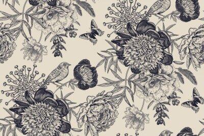 Naklejka Floral seamless pattern with garden flowers peonies, bird and butterflies.