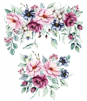 Naklejka Floral set, watercolor  flowers bouquets . Pink peonies and burgundy roses hand drawing. Isolated on white. Perfectly for web design, holiday decoration and print on greeting card, wedding invitation.