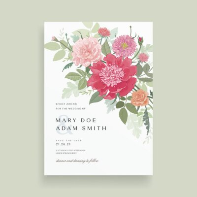 Floral wedding invitation card template design. Hand drawn detailed flowers bouquet on white background