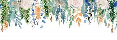 Naklejka Floral winter seamless border illustration. Christmas Decoration Print Design Template