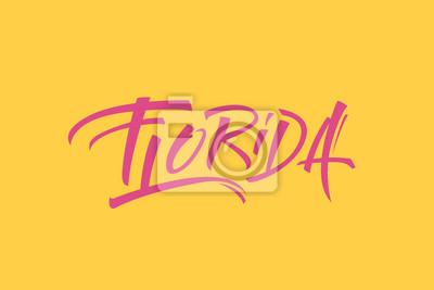 Florida USA Państwo Word Logo Hand Painted Szczotka Szablon Logo Kaligrafii Szablon