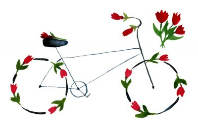 Naklejka Flower bike. Hand drawn watercolor illustration on paper. Black noir bike with red roses, poppies with green leaves. Romantic love. Isolated on white background