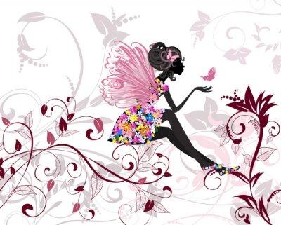 Naklejka Flower Fairy z Motyle