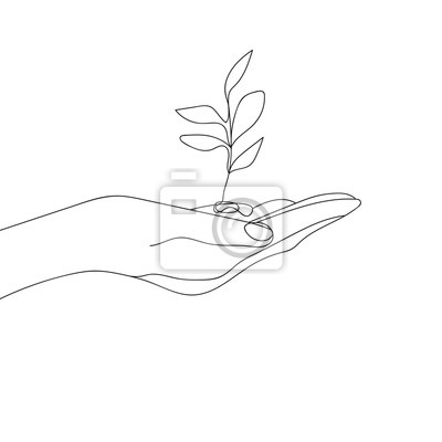 Flower in Hand Ecology Symbol. Hands Gesture Continuous One Line Drawing. Hand Line Drawing Print. Minimalist Contour Illustration. Vector EPS 10.