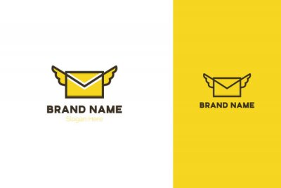 Flying envelope with wings filled outline icon, line vector sign. Envelope logo design. Element for corporate identity.