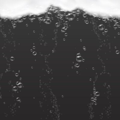 Foam with pure oxygen bubbles under water isolated on black background. Soap, gel or shampoo underwater texture. Vector realistic soda effect pattern.
