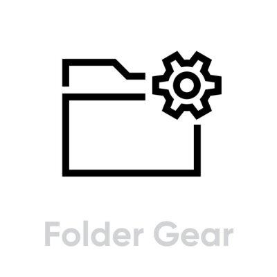 Folder gear sign in flat design. Editable vector stroke. Single pictogram. Data management.