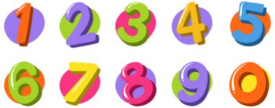 Naklejka Font design for number one to zero on white background