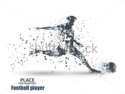 Naklejka Football player, kick a ball, particle divergent composition, vector illustration