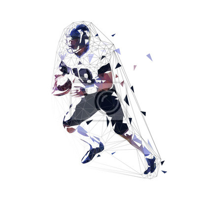 Football player running with ball, low poly vector illustration. American football, team sport