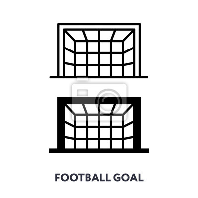 Football Soccer Goal Gates. Front View. Vector Flat Line Stroke Icon.