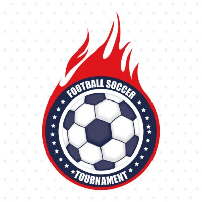 football soccer sport poster with balloon on fire